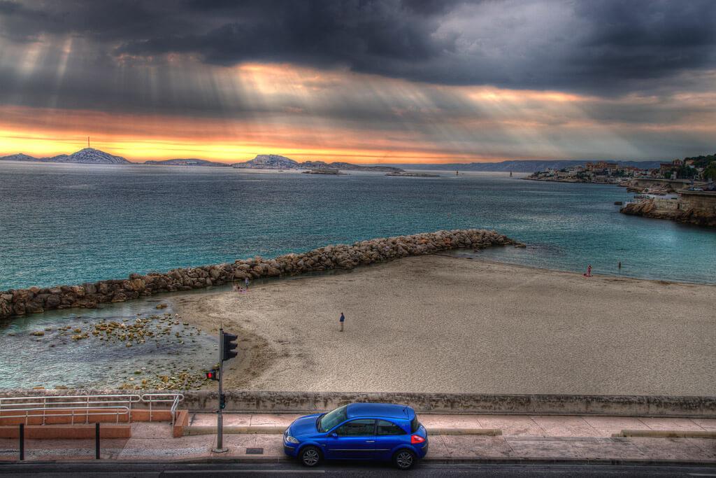 plage du prophete coucher de soleil où se baigner à marseille