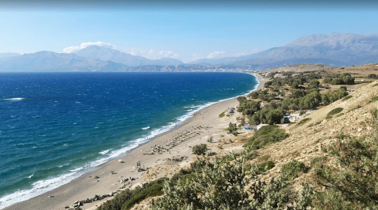 plage de kommos vegetation point de vue naturisme en grèce