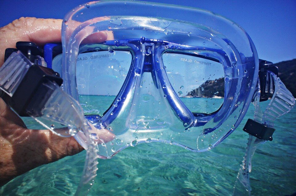 masque mer turquoise plongée à Majorque