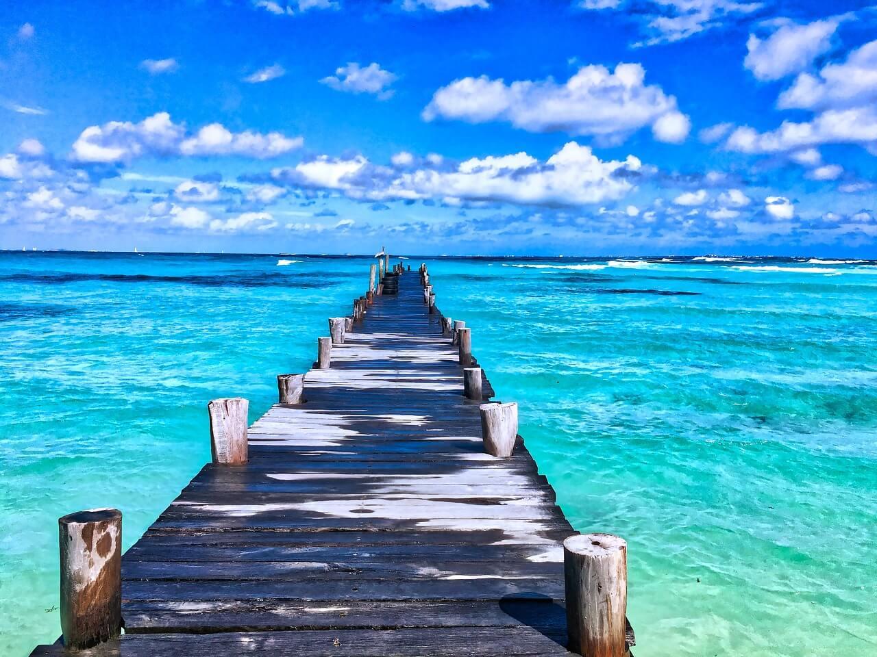 mexique mer turquoise ponton plus belles plages d'Amérique du Sud