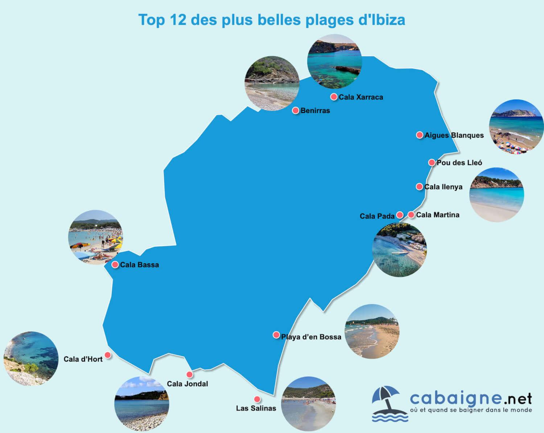 Carte des plus belles plages d'Ibiza