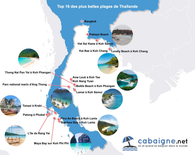 Carte des plus belles plages de Thaïlande