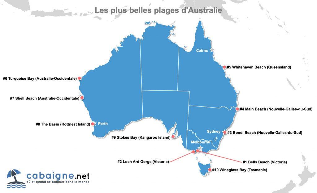 Carte des plus belles plages d'Australie à télécharger ou imprimer