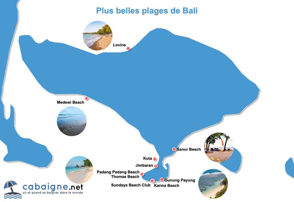 Carte des plus belles plages de Bali