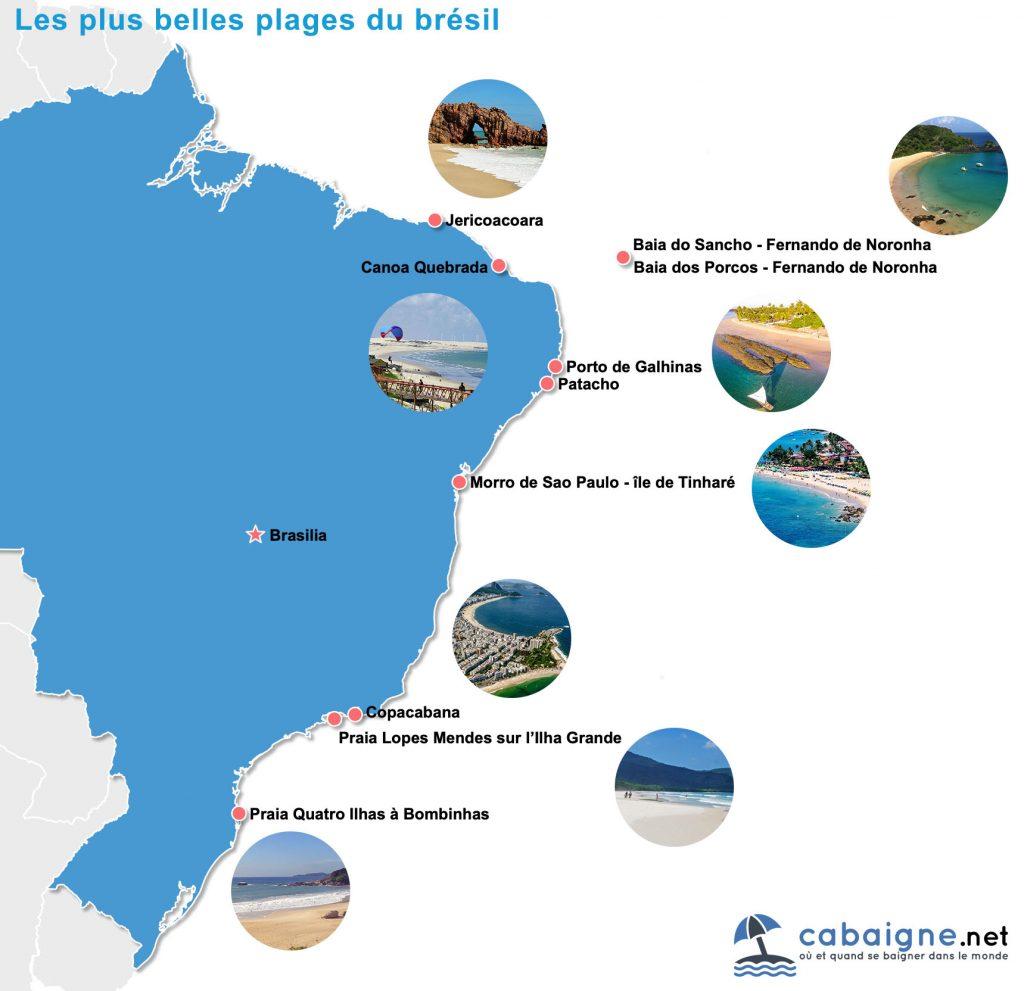 Carte des plus belles plages du Brésil