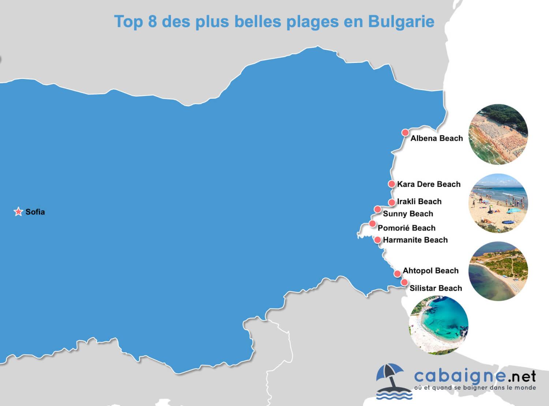 Carte des plus belles plages de Bulgarie