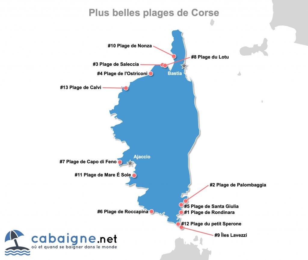 Carte des plus belles plages de Corse