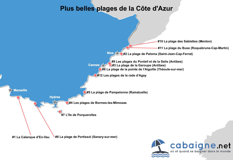 Carte des plus belles plages de la Côte d'Azur