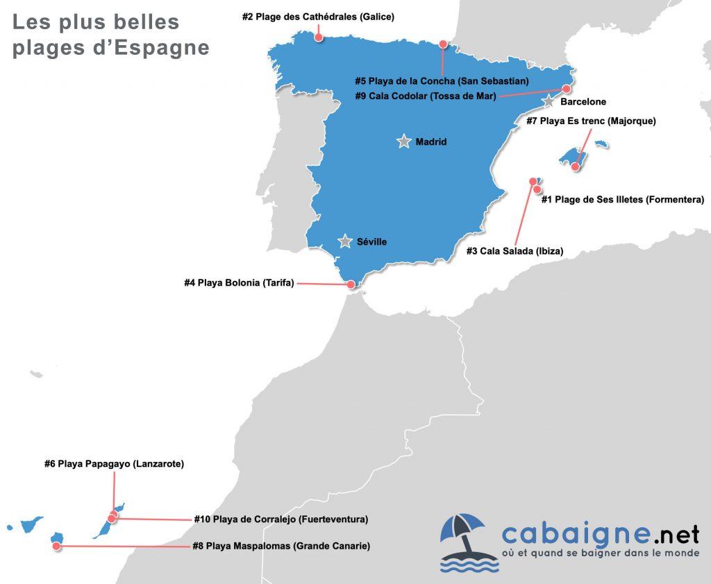 Carte des plus belles plages d'Espagne