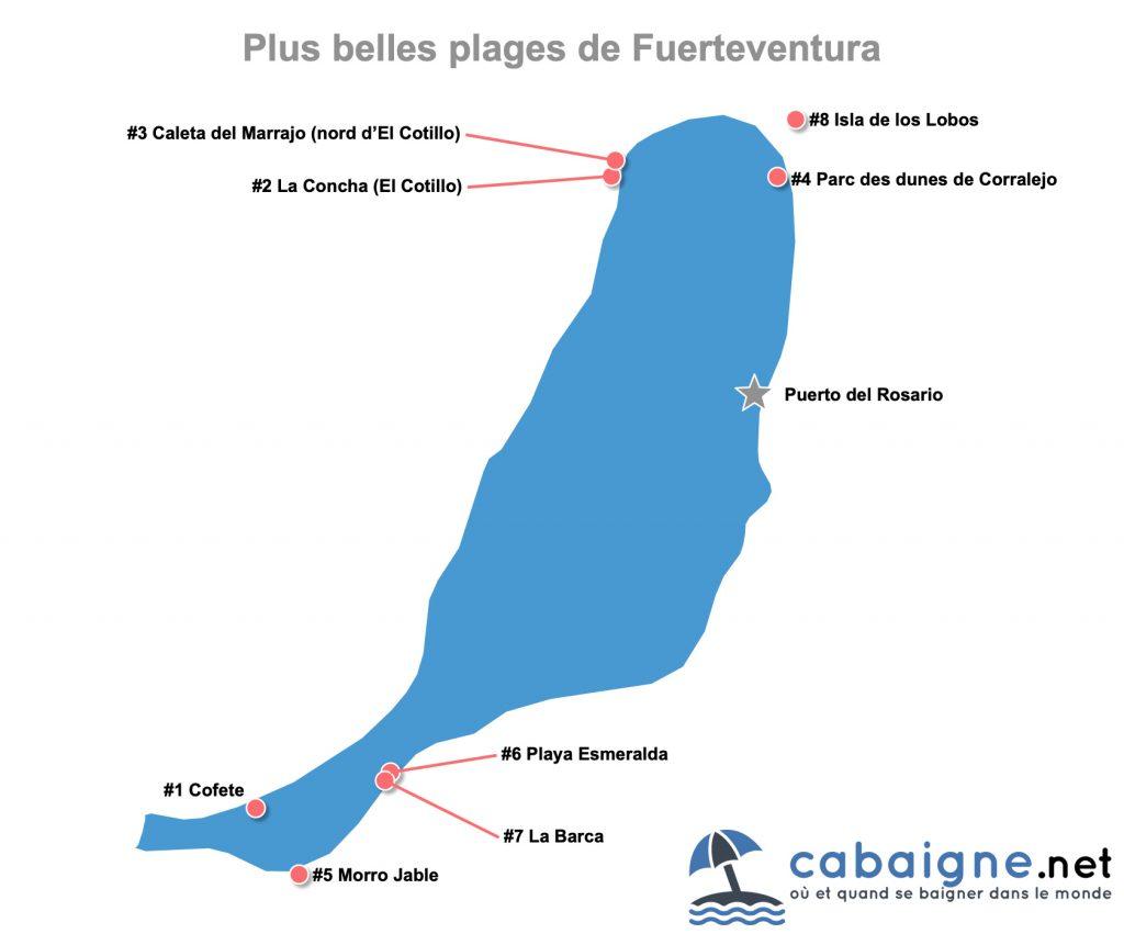 Carte des plus belles plages de Fuerteventura