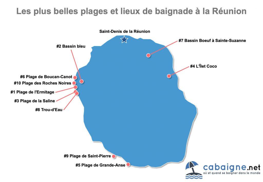 Carte des plus belles plages et lieux de baignade de la Réunion