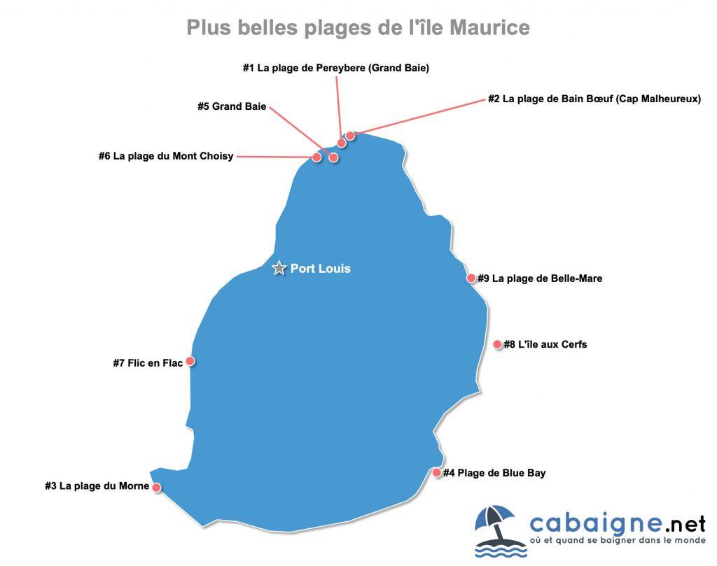 Carte des plus belles plages de l'île Maurice