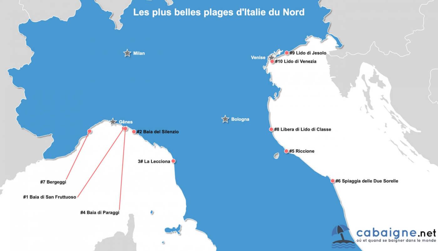 Carte des plus belles plages d'Italie du nord