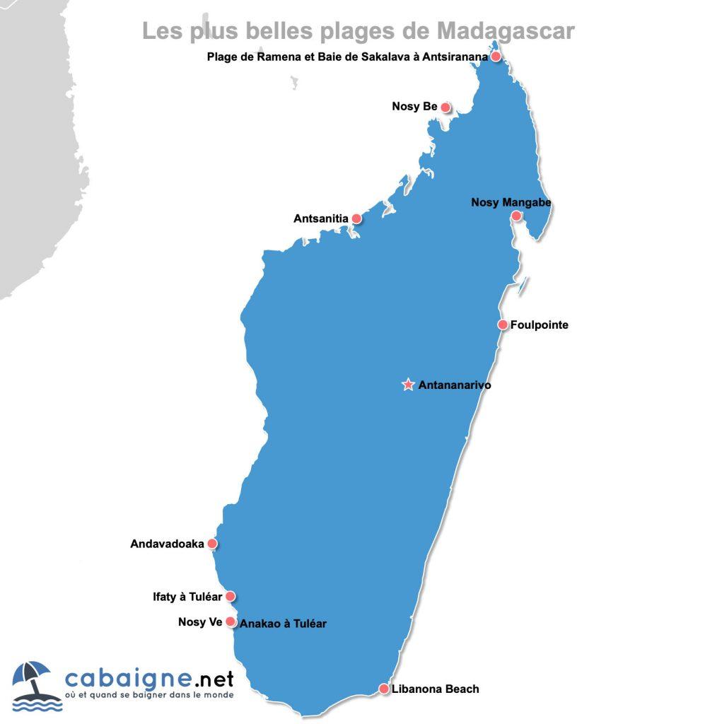 Carte des plus belles plages de Madagascar à télécharger ou imprimer