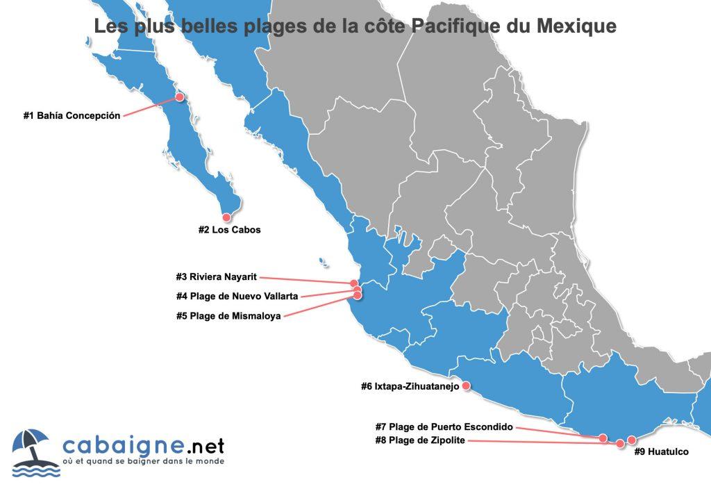 Carte des plus belles plages de la côte Pacifique du Mexique