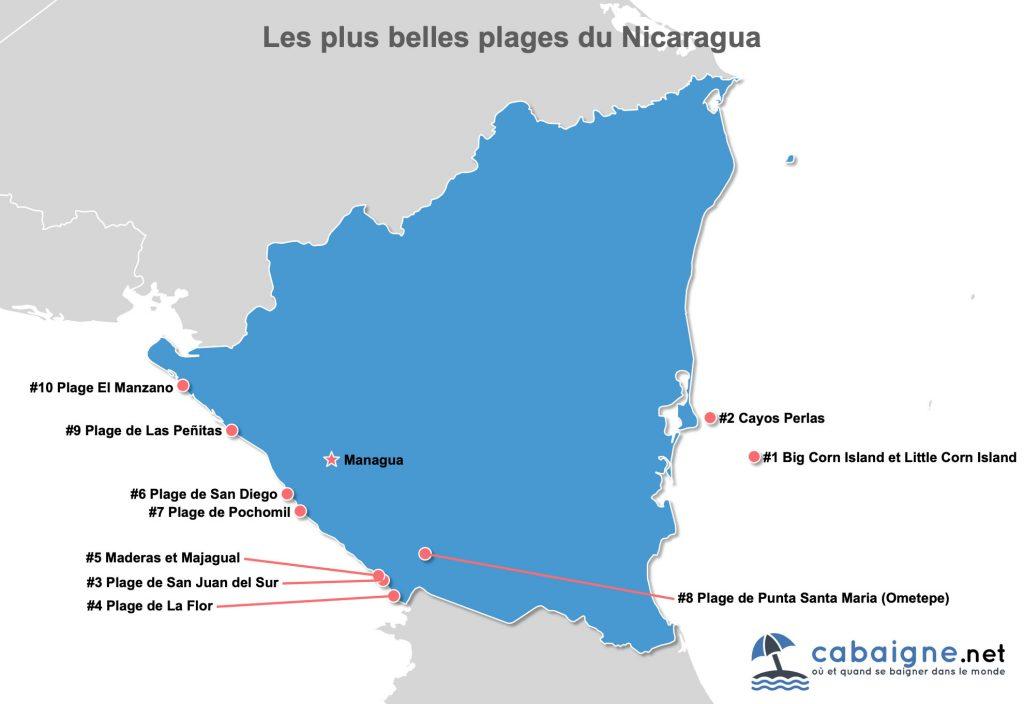 Carte des plus belles plages du Nicaragua