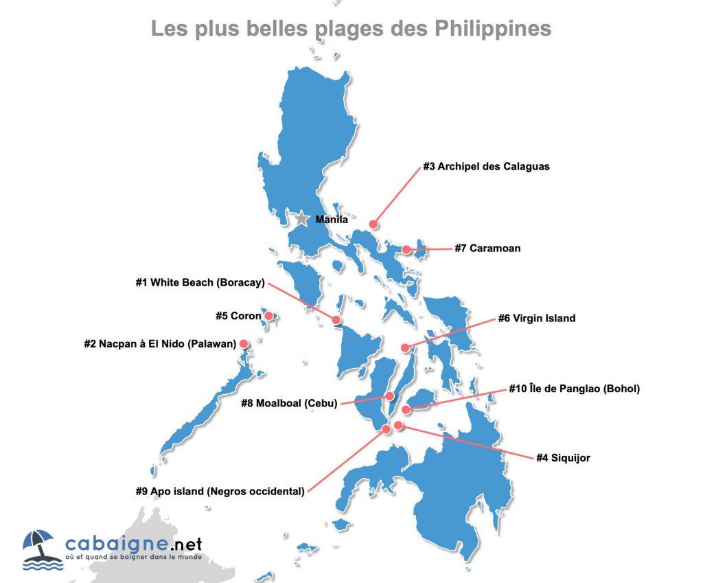 Carte des plus belles plages des Philippines