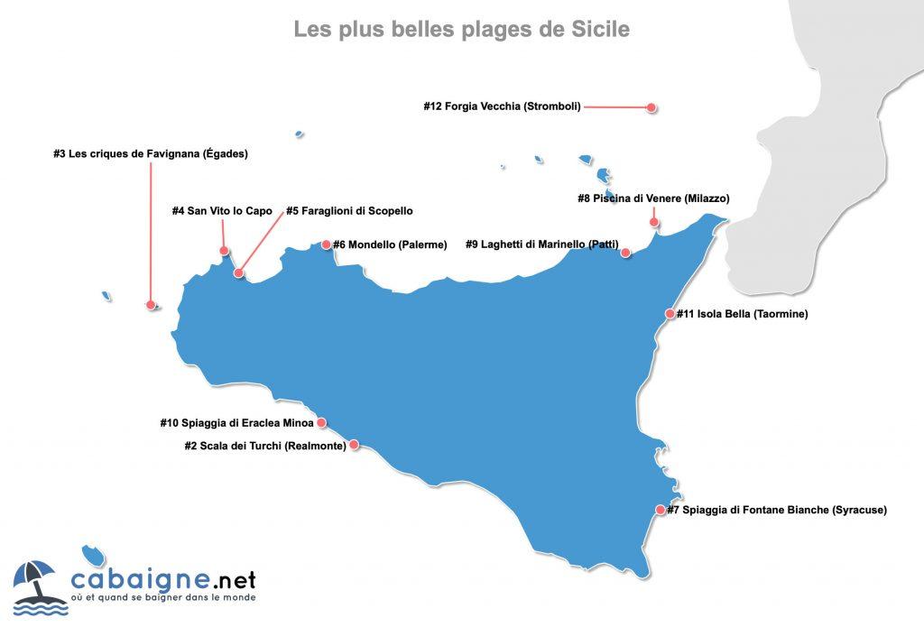 Carte des plus belles plages de Sicile (Italie)