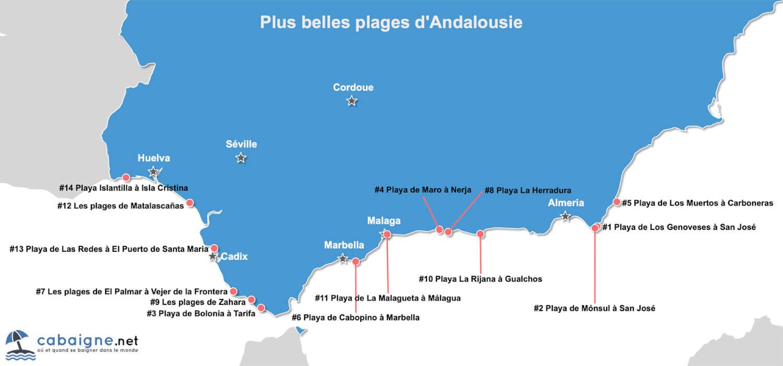 Carte des plus belles plages d'Andalousie