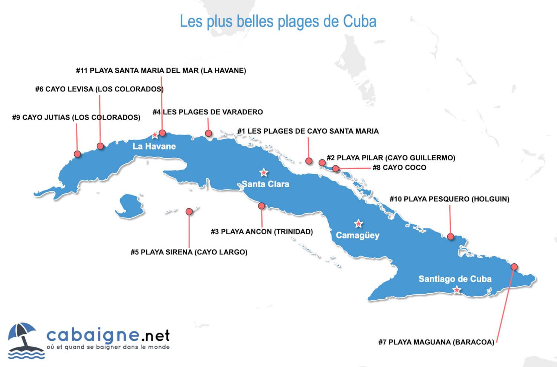 Carte des plus belles plages de Cuba