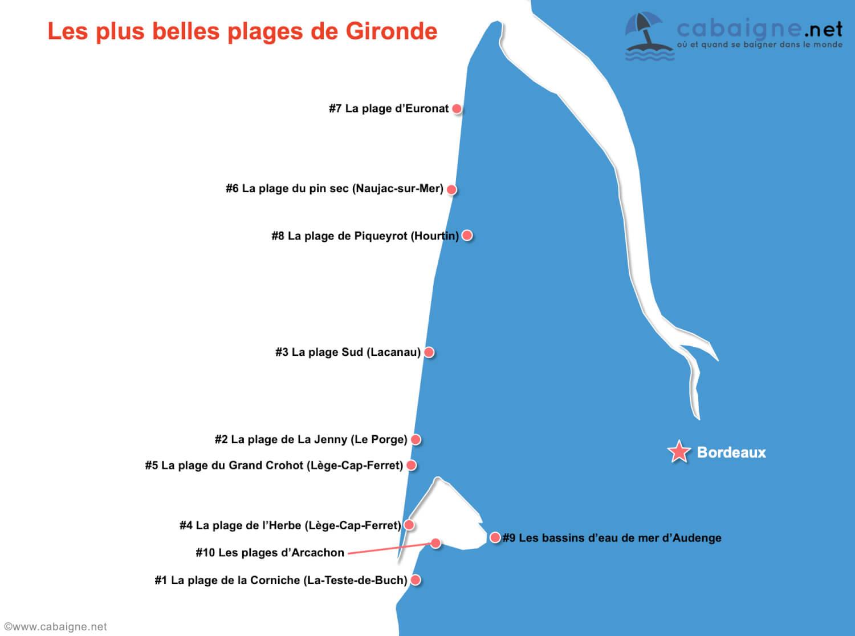 Carte des plus belles plages de Gironde
