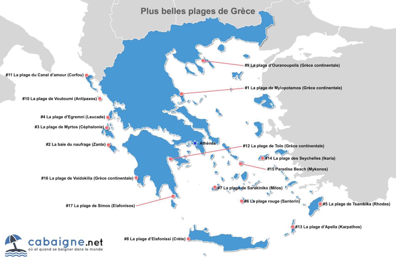 Carte des plus belles plages de Grèce (continentale et îles)