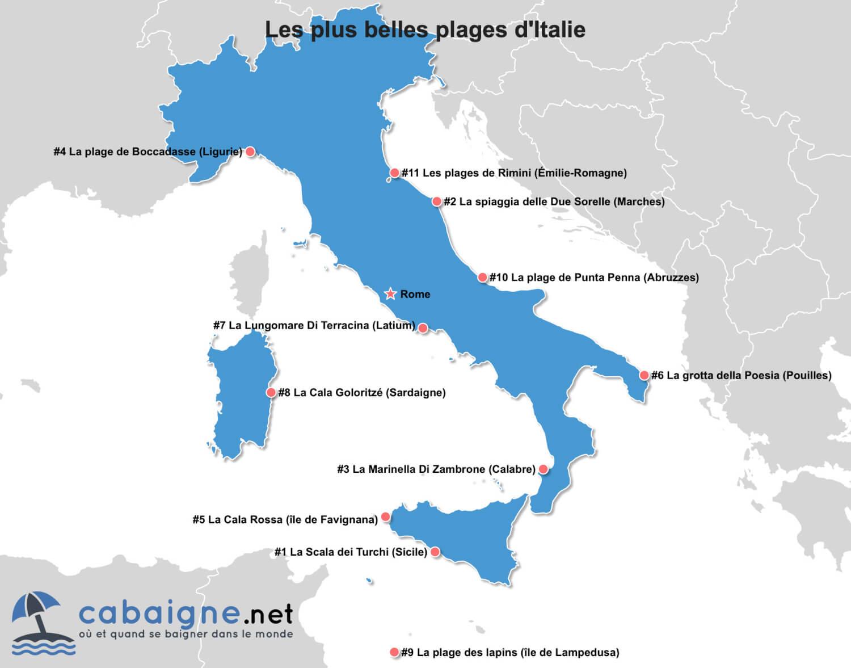 Carte des plus belles plages d'Italie