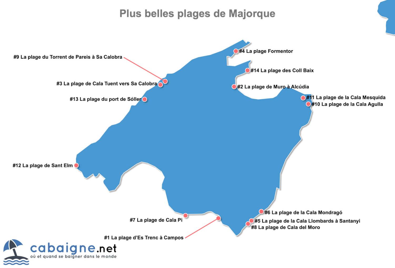 Carte des plus belles plages de Majorque