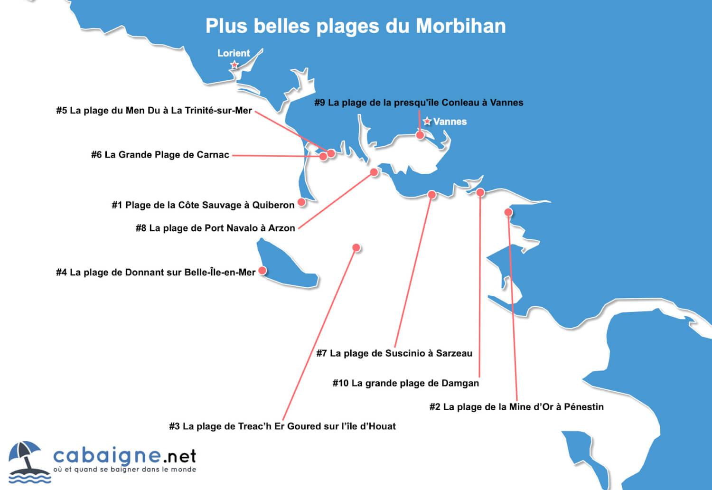 Carte des plus belles plages du Morbihan