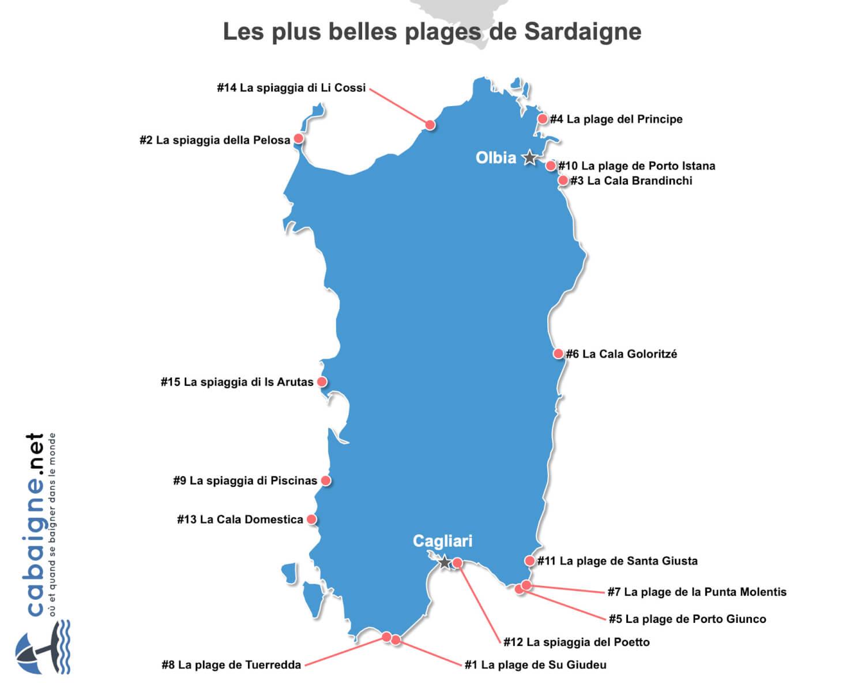 Carte des plus belles plages de Sardaigne