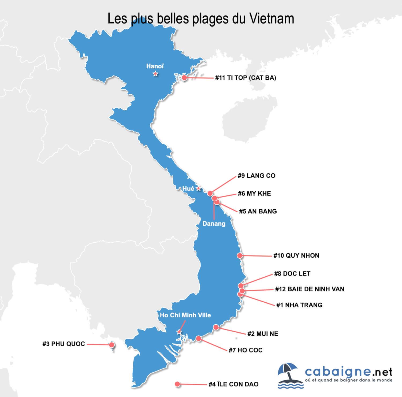 Carte des plus belles plages du Vietnam